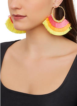 Triple Layer Fringe Fan Earrings - 1122062922790
