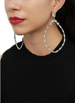 Large Rhinestone Teardrop Earrings - 1122062923123