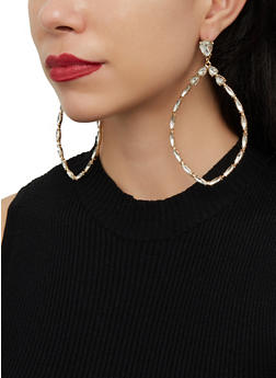 Large Rhinestone Teardrop Earrings - 1122062923123