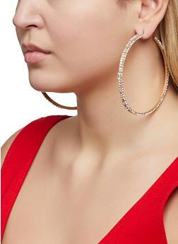 Oversized Rhinestone Hoop Earrings - 1122062923342