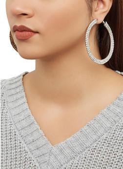 Rhinestone Flat Hoop Earrings - 1122062924475