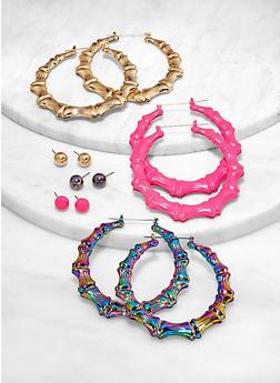 Painted Stud and Bamboo Hoop Earrings - 1122062924537