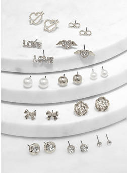 Assorted Metallic Heart Stud Earrings - 1122062924639