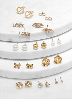 Assorted Metallic Heart Stud Earrings - 1122062924639
