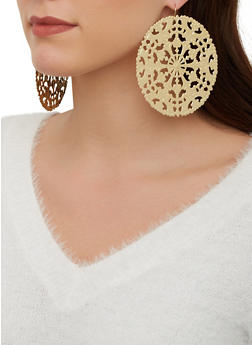 Large Metallic Disc Earrings - 1122062925391