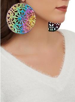 Large Metallic Disc Earrings - 1122062925391