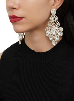 Rhinestone Chandelier Statement Earrings - 1122062926031