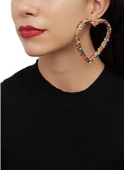 Oversized Rhinestone Heart Drop Earrings - 1122062927079