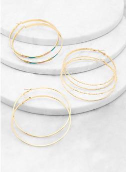 Oversized Metallic Glitter Hoop Earring Trio - 1122062927839