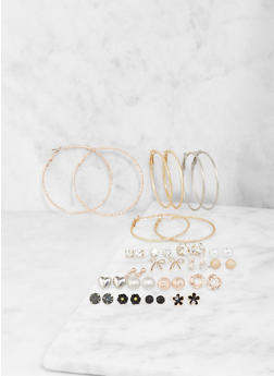 Tri Tone Hoop and Assorted Stud Earrings Set - 1122062928867