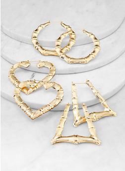 Geometric Metallic Bamboo Earrings - 1122062928960