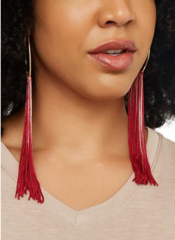 Ombre Tassel Hoop Earrings - 1122062929767