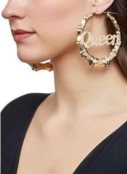 Queen Graphic Bamboo Hoop Earrings - 1122062929873