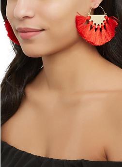 Metallic Tassel Fan Earrings - 1122062929928