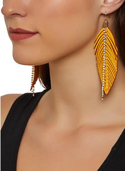 Rhinestone Fringe Leaf Earrings - 1122067256290