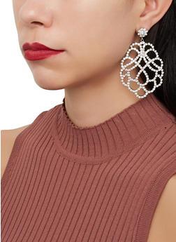 Rhinestone Statement Drop Earrings - 1122067256688