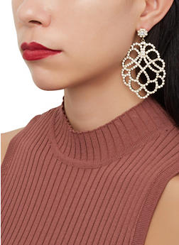 Rhinestone Statement Drop Earrings - 1122067256688