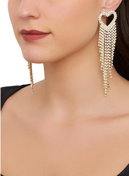 Heart Rhinestone Fringe Earrings - 1122067256691