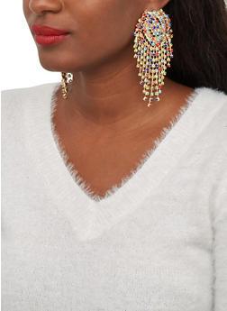 Rhinestone Fringe Drop Earrings - 1122067256703