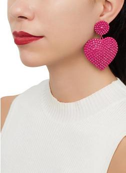 Large Rhinestone Heart Earrings - 1122067256705