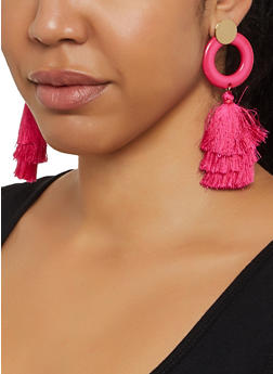 Circle Tassel Drop Earrings - 1122071210206