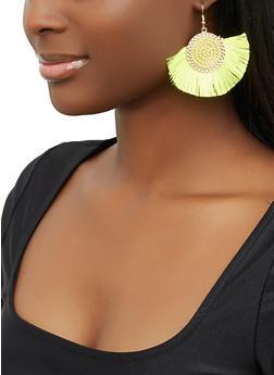 Beaded Disc Fringe Drop Earrings - 1122071211031