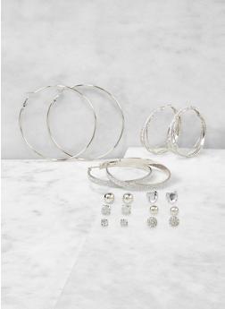Set of 9 Stud and Hoop Earrings - 1122071430023