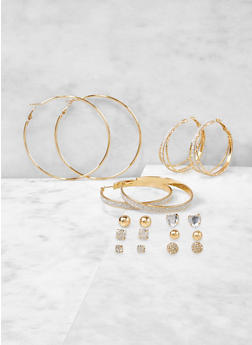 Set of 9 Stud and Hoop Earrings - 1122071430023