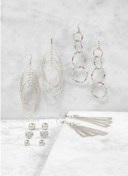 Metallic Stud and Drop Earrings Set - 1122071430230
