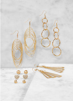 Metallic Stud and Drop Earrings Set - 1122071430230