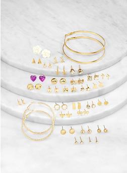 Assorted Flower Stud and Hoop Earrings Set - 1122071430703