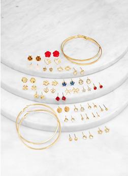 Metallic Flower Stud and Hoop Earrings Set - 1122071430712