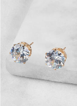 Round 10mm Cubic Zirconia Earrings - 1122071431072