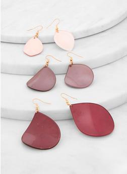 Plastic Teardrop Earring Trio - 1122071431302