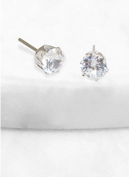 Round 6 mm Cubic Zirconia Stud Earrings - 1122071431367