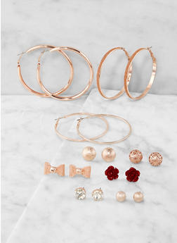 Assorted Glitter Stud and Hoop Earrings Set - 1122071431414