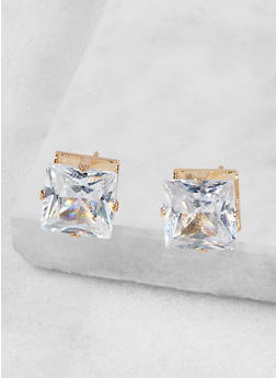 Square 10mm Cubic Zirconia Earrings - 1122071431628