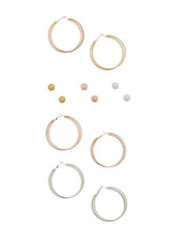 Set of 6 Hoop and Stud Earrings - 1122071432102