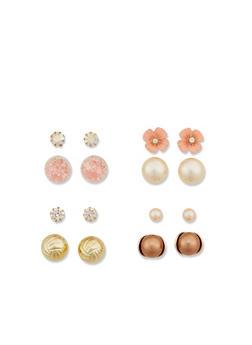 Faux Pearl Reversible Ball Stud Earrings - 1122071432105