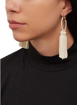 Triple Tassel Hoop Earrings - 1122071432130
