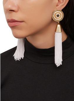 Disc Beaded Tassel Earrings - 1122071432207