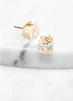 8 mm Square Cubic Zirconia Stud Earrings - 1122071433217