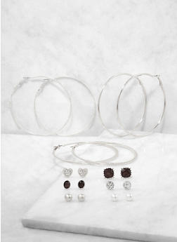 Assorted Faux Pearl Stud and Hoop Earrings Set - 1122071433317