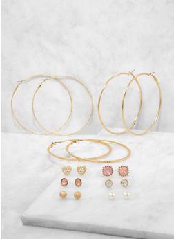 Assorted Faux Pearl Stud and Hoop Earrings Set - 1122071433317