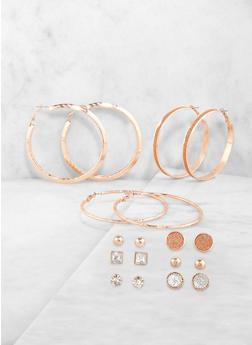 Set of 9 Glitter Hoop and Stud Earrings - 1122071433343