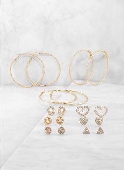 Assorted Rhinestone Heart Stud and Hoop Earrings Set - 1122071433388
