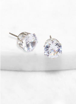 Round 10 mm Cubic Zirconia Stud Earrings - 1122071433789