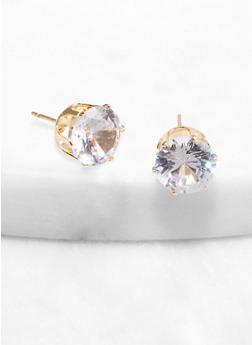 Round 10 mm Cubic Zirconia Stud Earrings - 1122071433789