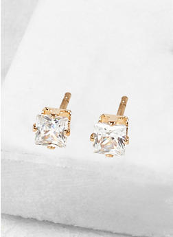 Square 4mm Cubic Zirconia Earrings - 1122071434628