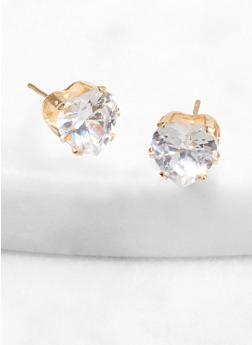 Heart 9 mm Cubic Zirconia Stud Earrings - 1122071434894